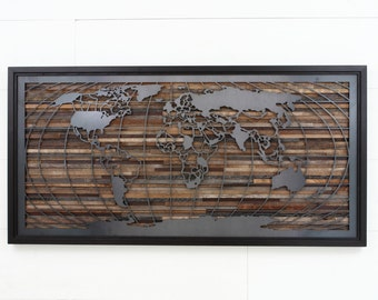 Reclaimed wood wall art of a circuit board 48 wide x 24 world map artwork made of old barnwood and natural steel different sizes available large gumiabroncs Gallery