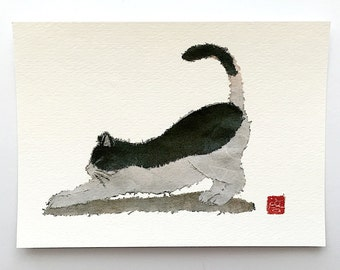 Cat Art, Minimalist Cat, Modern Japanese Art, Giclee, Yoga Cat, Black And White