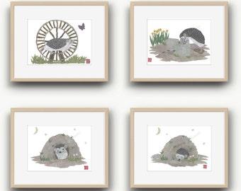 Hedgehog Print, Set, Hedgehog Art, Hedgehog Nursery, Hedgehog Decor