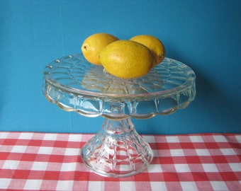 Indiana Glass Cake Stand  - Rum Well - Constellation Pattern - Mid Century Vintage 1950's