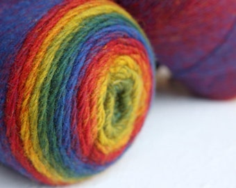 Gradient rainbow wool yarn 100% - red blue yellow green artistic WOOL YARN