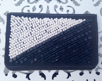 Clearance Sale: Black and White Birth Control Case - Birth Control - Pill Case - Pill Holder - Beaded Case - Black and White Case