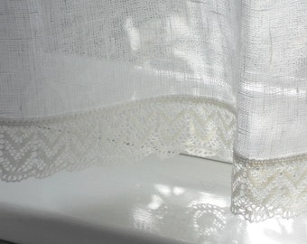 Linen cafe curtain white rustic gauzy kitchen curtain panel with lace edge trim valence in shabby chic french style