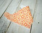 Orange Damask Circle Drool Bib - Damask Drool Bib - Terry Cloth Bandana Bib - Hombre Orange Drool Bib