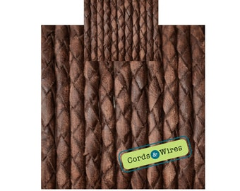 CW04130 - 0.40 meter x 4.00mm Vintage effect  Braided Leather Cord