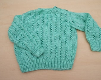 Hand knitted baby jumper in mint green 2 - 3 years children's sweater - knitted baby clothes - girls jumper - boys sweater
