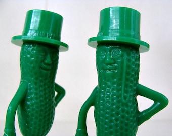 Vintage Green Mr Peanut Salt & Pepper Shakers