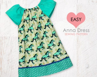 VERY EASY baby sewing pattern pdf, baby dress pattern,  baby peasant dress pattern pdf, ANNA baby