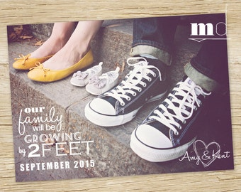 Photo Card Pregnancy Announcement, Baby Announcement, Facebook Photo Pregnancy Announcement, Growing Family - PRINTABLE DIGITAL FILE for web