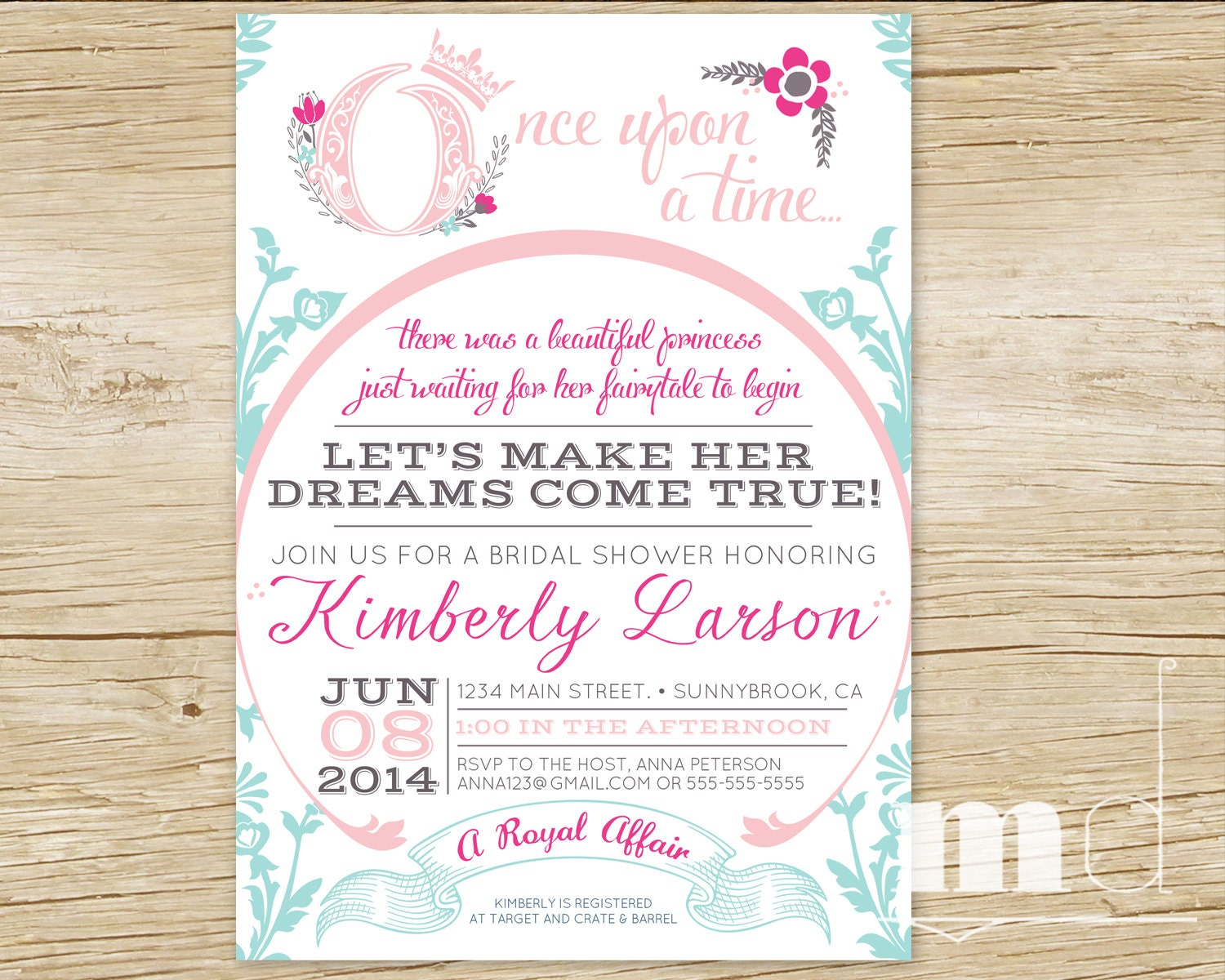 Fairytale Wedding Shower Invitations Once Upon A Time Bridal Shower ...