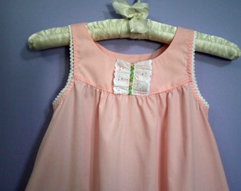 Girls Summer Nightgown,  size 8, 10, 12, 14, 16   custom made cotton-poly Ballet Pink or White