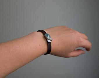 SALE Green pottery shard bracelet, Oxidized sterling silver bracelet, Nubuck leather bracelet, Artisan jewelry, Adjustable bracelet