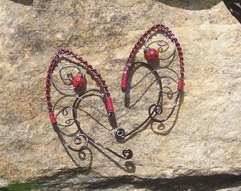 Elf Ear Cuffs - Lady Bug - Elven Jewelry - Lady Bug Earrings - Ladybug Jewelry