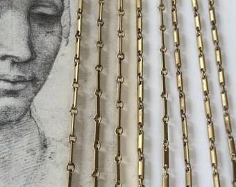 Vintage Brass Bar Chain, Oxidized Bar Chain, Industrial Chain, 8Ft