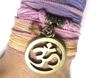 Om Namaste Silk Wrap Bracelet Yoga Jewelry Colorful Bohemian Jewelry Meditation Yoga Wrist Band Gift Om Necklace Christmas Stocking Stuffer