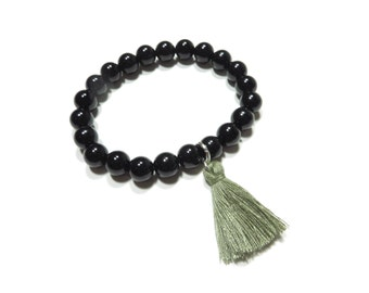Black Onyx Mala Bracelet Yoga Jewelry Buddhist Spiritual Tassle Wrist Mala Meditation Strength Beaded Bracelet Tassel Mala Birthday Gift