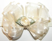 Frilly Ivory Headband Organza Satin Rose Bow Infant Newborn Baby Girls Accessories Wedding Party Blessing Baptism Christening 1st Occasion
