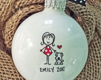 Ornament, Personalized Pet Ornament, Personalized Dog Ornament, Girl or Boy and Dog Ornament, Personalized Ornament, New Puppy Ornament