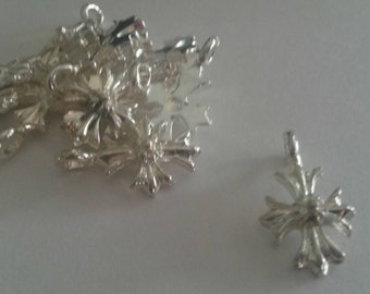 25 silver plated Cross Charms