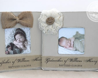 godmother godfather gift custom personalized picture frame set of 2 godparents gift for baptism baptized