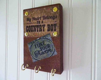 Country Boy Key Holder Necklace Hanger Rustic Wooden Wall Decor My Heart Belongs To a Country Boy 6x4 Inch Plaque. Country Rowdy Decor.