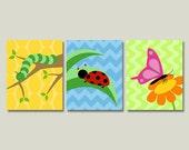 Bug Nursery Art Prints, Set of Three Children's Artworks, Butterfly, Ladybug, Caterpillar