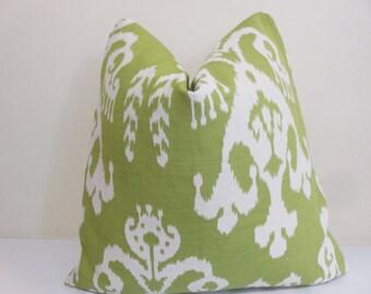 Green Ivory Ikat pillow - Ikat Pilllow Cover -  Green Ikat Cushion- Throw Pillwo- Ikat Sofa Pillow