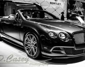 Bentley Convertible, Photography, fine art Photography, Black and white, wall art, home décor, car photography, vintage, auto, gift, print