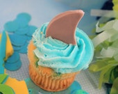 Fondant Shark Party Cupcake Toppers Summer party 12 qty beach birthday, shark bite party