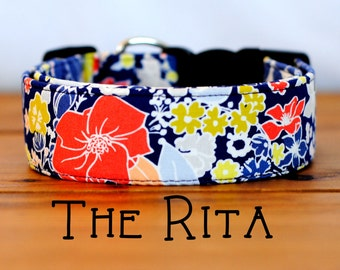 """Purple, Coral, and Chartreuse Modern Floral Dog Collar """"The Rita"""""""