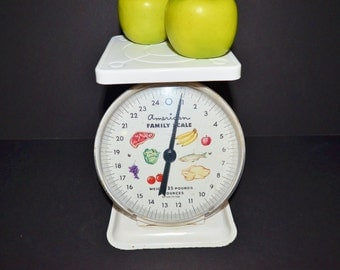 Vintage American Family Scale - Household Scale - 1960's White Kitchen Scale - Cottage Kitchen Decor -