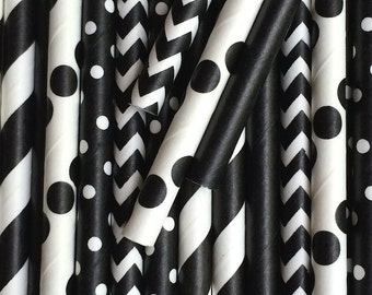 25 Black Stripe Polka Dot Chevron Stripe Paper Straw Mix - Drinking Straws - Party Supplies