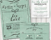 Tie the Knot Rustic Wedding Invitation Suite Plus Custom Card insert for Sarah
