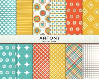 "Digital Paper - ""Antony""  -  Scrapbooking Instant Download - Orange Yellow Teal - Boys  - Personal Commercial G5076"