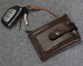 Genuine Leather  car keys wallet -Men key case-purce-coins wallet--zipper wallet-cards holder