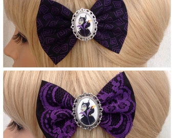 Maleficent hair bow clip evil queen sleeping beauty rockabilly psychobilly kawaii kitsch pin up punk fabric purple girls accessories ladies