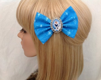 Olaf Frozen hair bow clip rockabilly psychobilly disney kawaii pin up fabric blue Anna Queen elsa kristoff snowflake pretty ladies girls