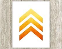 Chevron Printable, 8x10 Instant Download, Yellow Orange Fire Ombre Watercolor Chevron, Chevron Print, Chevron Wall Art, Chevron Arrows Print
