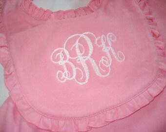 Monogram Baby Bib and Burp Cloth Set; Girl or Boy Baby Gift