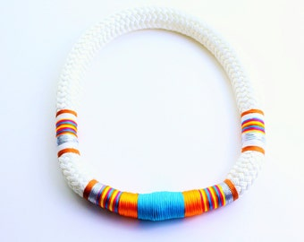 White Tribal Thick Marine Cord Statement Necklace