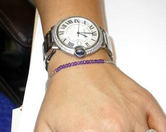 Genuine Amethyst Sterling Silver Bracelet