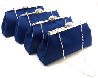 Bridesmaid Gift, SALE! 5% OFF Set Of Four Navy Blue and Silver Bridesmaid Clutches, Embroidered Bridal Clutch, Mother Of The Bride Gift