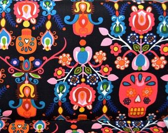 Calavera Del Mar, Black Bright - Alexander Henry Cotton Fabric, Mexican Folklorico