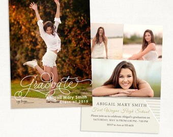 Senior Graduation Announcement Template for Photographers 018 - ID235, Instant Download