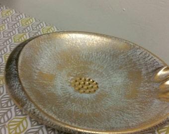 Stangl Pottery Ashtray Aqua and Gold