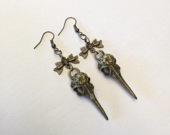 SALE Bronze Skull Bow Earrings