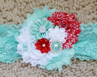 Baby headband, newborn headband, red aqua,toddler headband, lace headband, baby photography prop, red and aqua baby headband