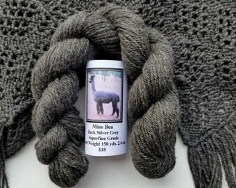 Alpaca Yarn Dark Silver Grey Sport Weight 150 yds. 2.4 oz.