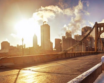 Pittsburgh Panorama Photo, color HDR photograph, fine photography print, A Brisk Morning