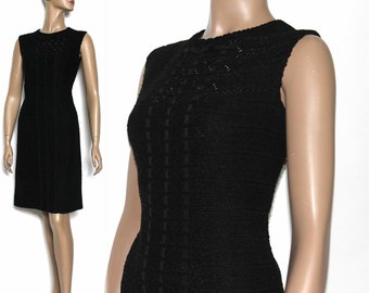 Vintage 1960s Dress Black Rayon Rockabilly Garden Party Cocktail Mad Men Couture Pinup Hourglass Femme Fatale Wiggle